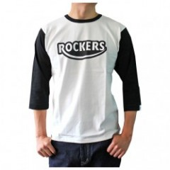 ACE CAFEエースカフェ GENUINE CLOTHING 7分袖Tシャツ ROCKERS 白黒